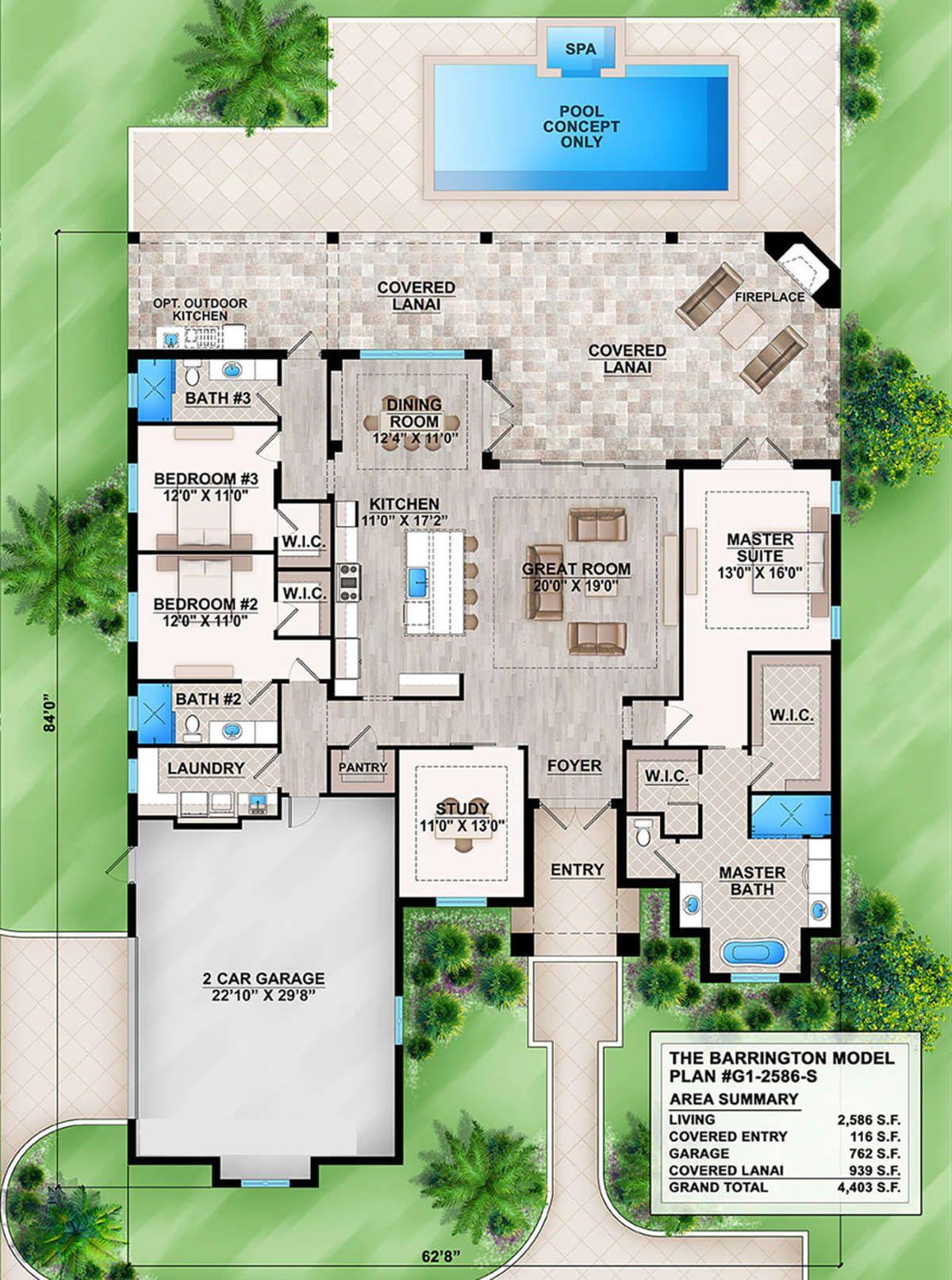 House Plan 207 00054 Florida Plan 2 586 Square Feet 3 Bedrooms 3 Bathrooms Florida House Plans Rustic House Plans How To Plan