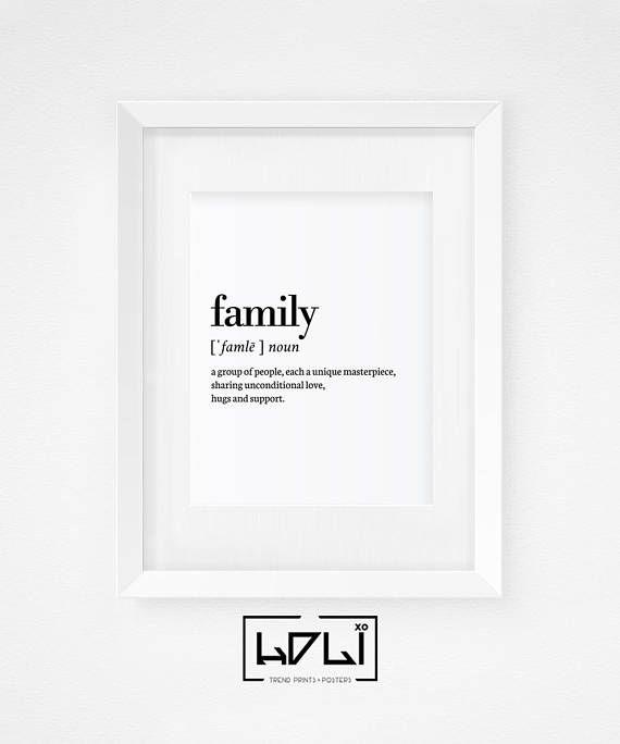 Family Definition Print, Printable Wall Art Prints, Family Print