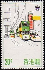 Issued in 1977, Hong-Kong - Double decker bus