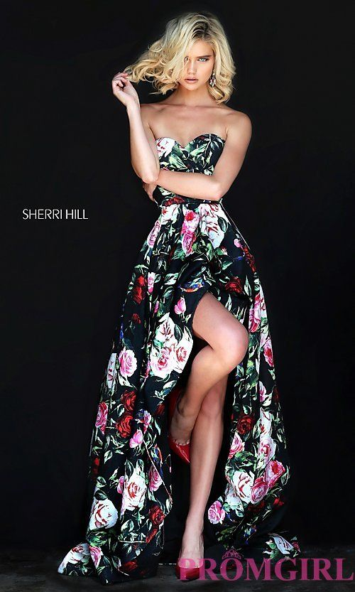 Image of black high-low prom dress with multi-color print. Style: SH ...