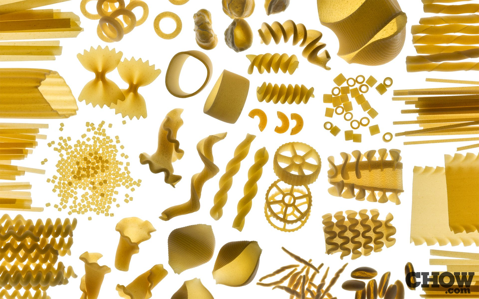 Italian pasta in different size and shape