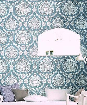 Scandinavian Vintage Vliestapete Landhaus Tapete Vlies Blau Weiss