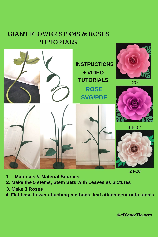 Giant Self Standing Flower Stems Tutorial Large Flower Stems Free
