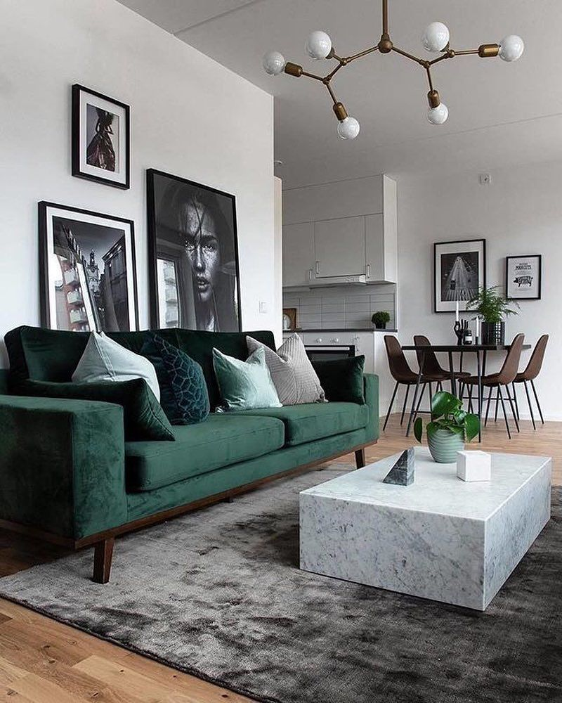 Neutral and classic Living room with a green sofa to add ...