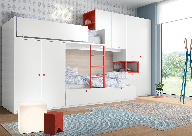 Dormitorio juvenil block dos camas antaix origami muebles dormitorios juveniles y dormitorios - Mobiliario juvenil barcelona ...