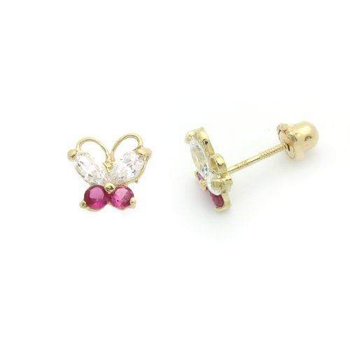Valentine S Day Gift 14k Gold Stud Earring Cz Cute Erfly Yellow W Back For Kids Double Accent 36 99
