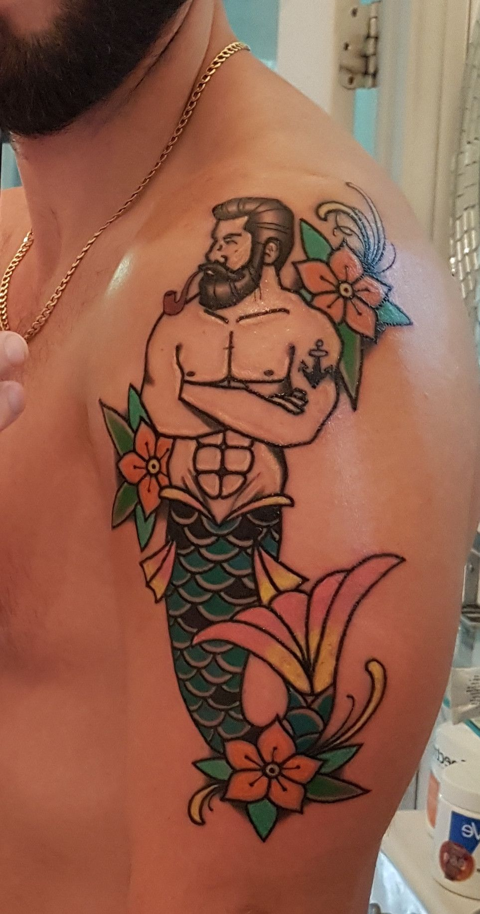 Pipe Smoking Merman done by BJ Zieger @ Lucky Panther Tattoo Regina SK Gay  Tattoo,