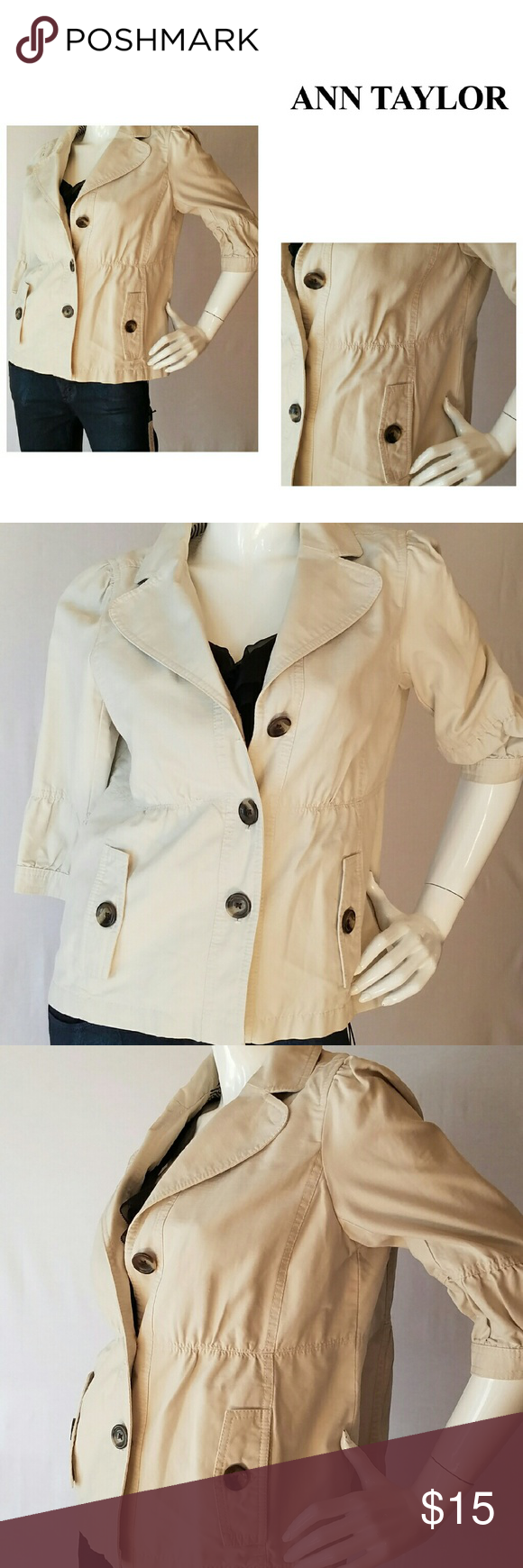 ANN TAYLOR Jacket Cute casual cotton Ann Taylor jacket with cropped sleeves and fit.  Tortoiseshell look accent buttons.  Perfect for cool summer nights over a tank or with shorts.  Excellent condition Ann Taylor Jackets & Coats Blazers
