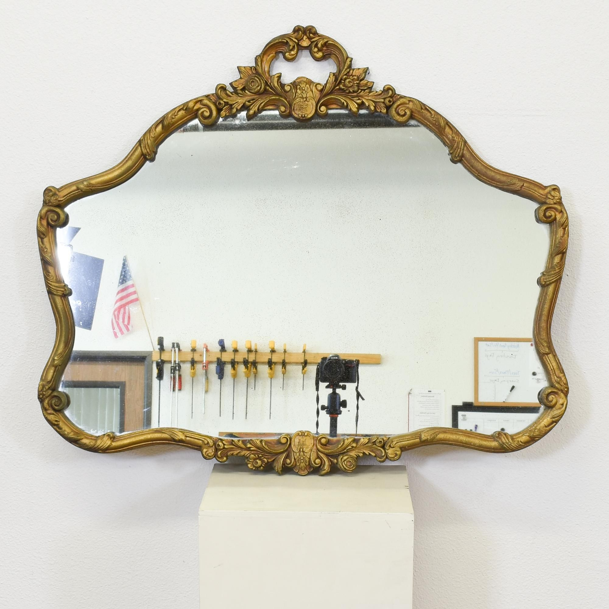 This Antique Mirror Is Featured In A Solid Wood With A Shiny Gold