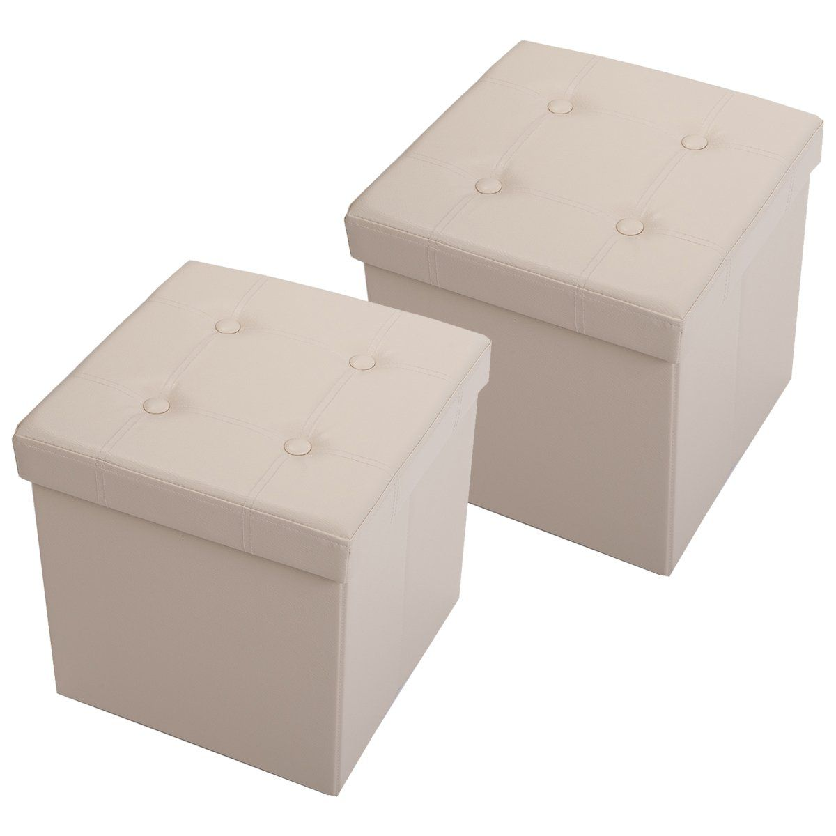 Kokomix Folding Storage Ottoman Cube Foot Rest Stool Seat Faux Leather Beige Set Of 2 You Can Storage Cube Ottoman Storage Ottoman Folding Storage Ottoman