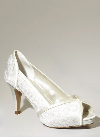 Ivory Fashion Wide Fit Da Vinci Lace Peep Toe Courts Shoes