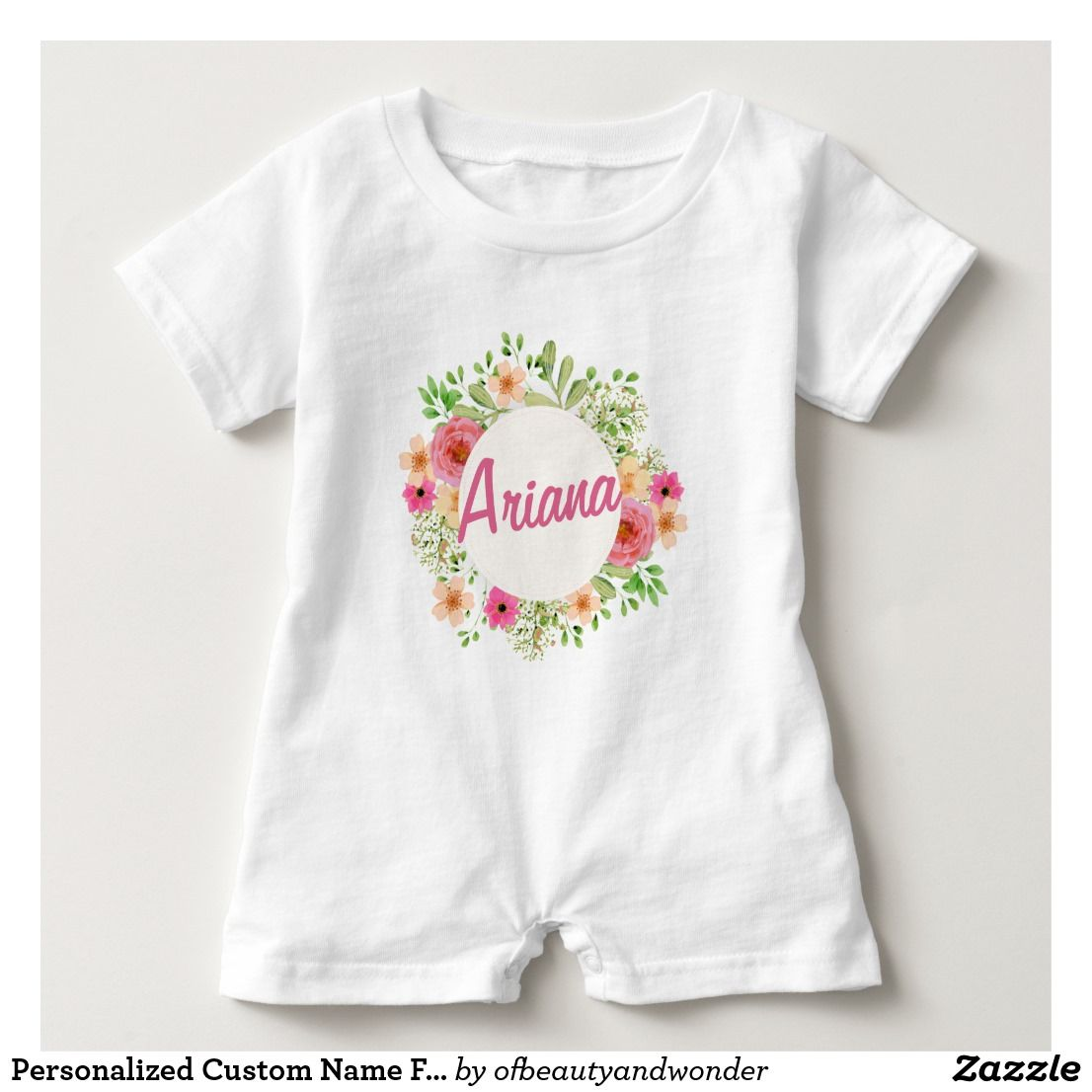 1f0ef47bd Personalized Custom Name Floral Wreath | Romper | Top 25+ ...