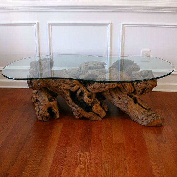 Driftwood Coffee Table With Gl Top Tail Beach Zen Natural Bohemian