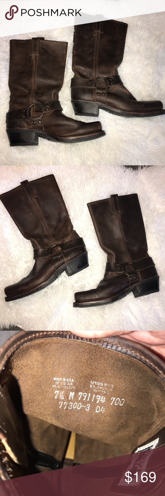 VGUC Frye Harness 12R Brown Leather Boot Frye Harness 12R Boot in size 7.5! These have been very gen...