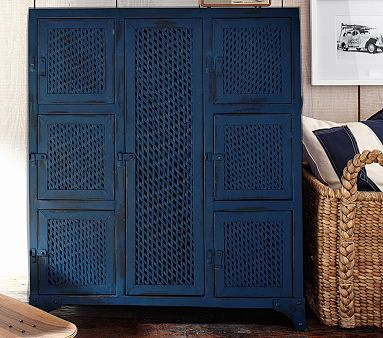 Vintage Locker Cabinet Pbkids Tarva Dresser Painted Navy