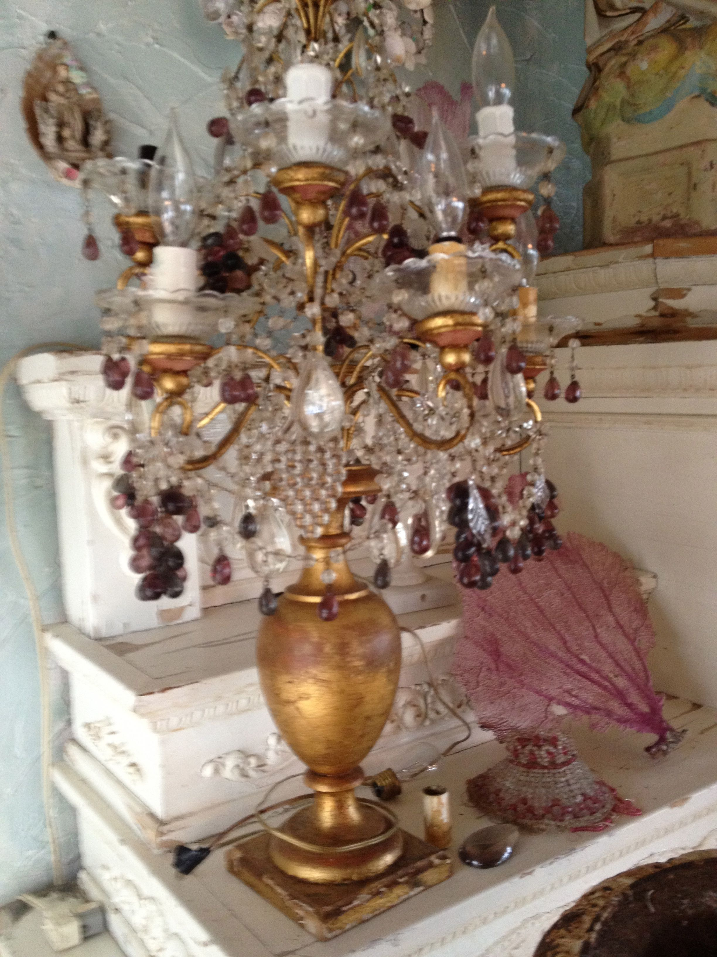 TABLE CHANDELIER OR FRENCH GIRANDOLE | BEADED THINGS | Pinterest ...