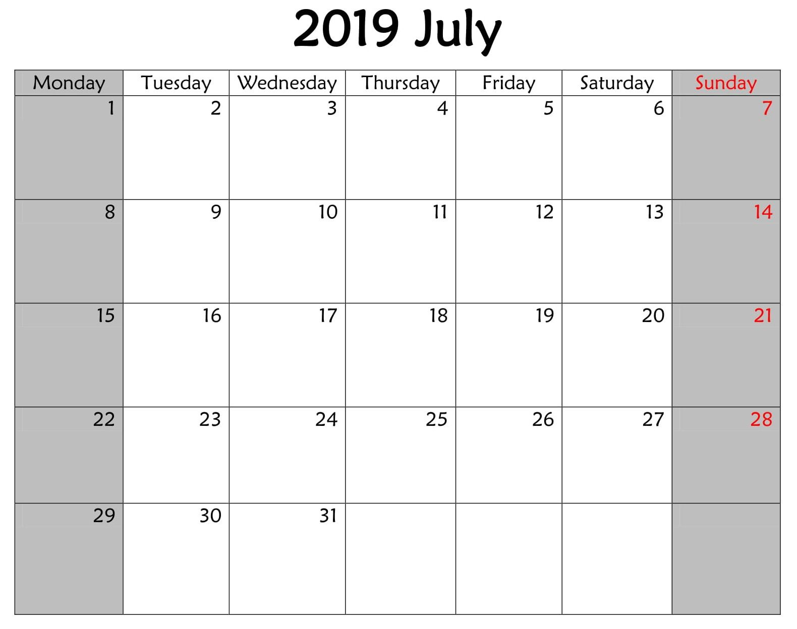 Calendar July 2019 Business With Holidays Holiday Words