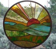 "stained glass window panel"" FOREVER SUNSET 2″ stained glass sunset, round stained glass, stain glass suncatcher,14 7/8″"