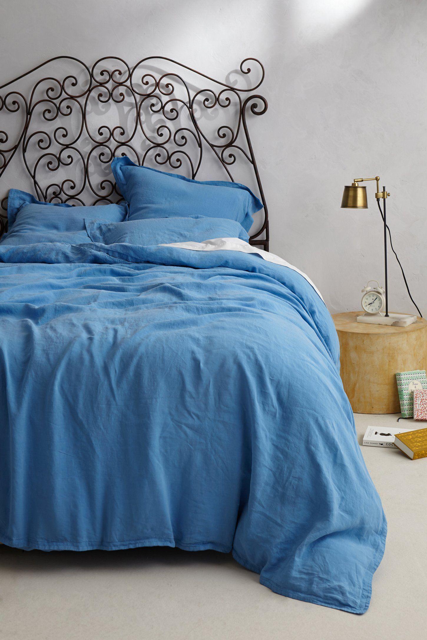 Sophie Linen Duvet - Anthropologie.com (paint bed frame black with ...