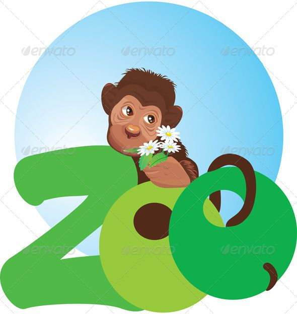 Monkey With Flowers In Hand Zoo Symbol Fonts Logos Icons