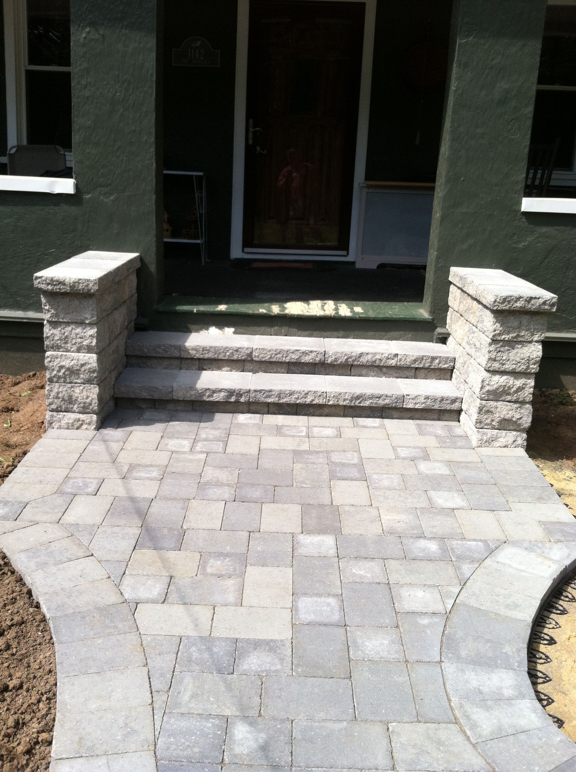 Hardscape Paver Front Entrance With Front Walk And Steps