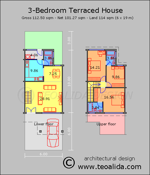 Rumah Teres 3 Bilik Tidur 110 Meter Persegi Architecture