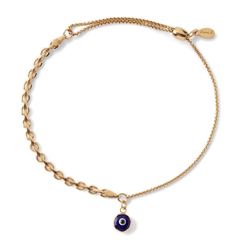 Evil Eye Track Pull Chain Bracelet in Gold Filled