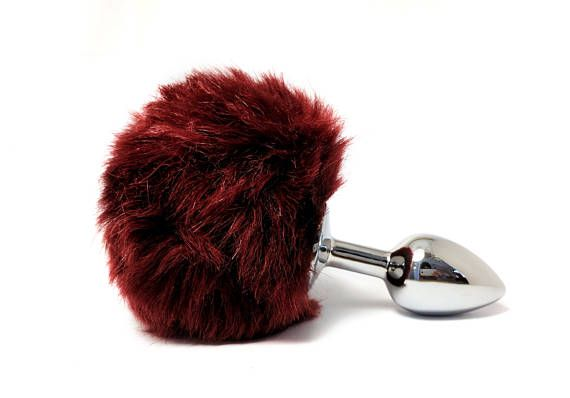 red bunny tail butt plug - sex toys - anal plug - small metal butt