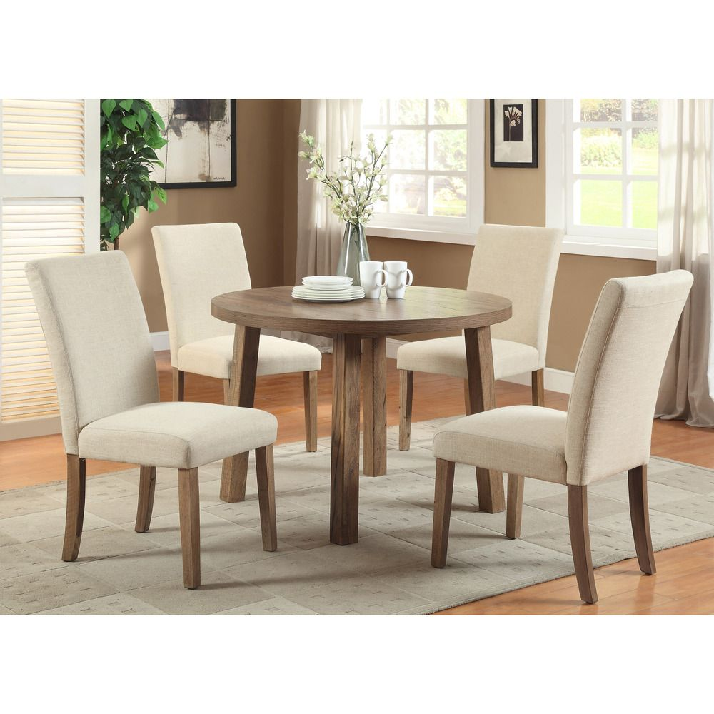 Small round kitchen table  Furniture of America Seline Round Weathered Elm Dining Table