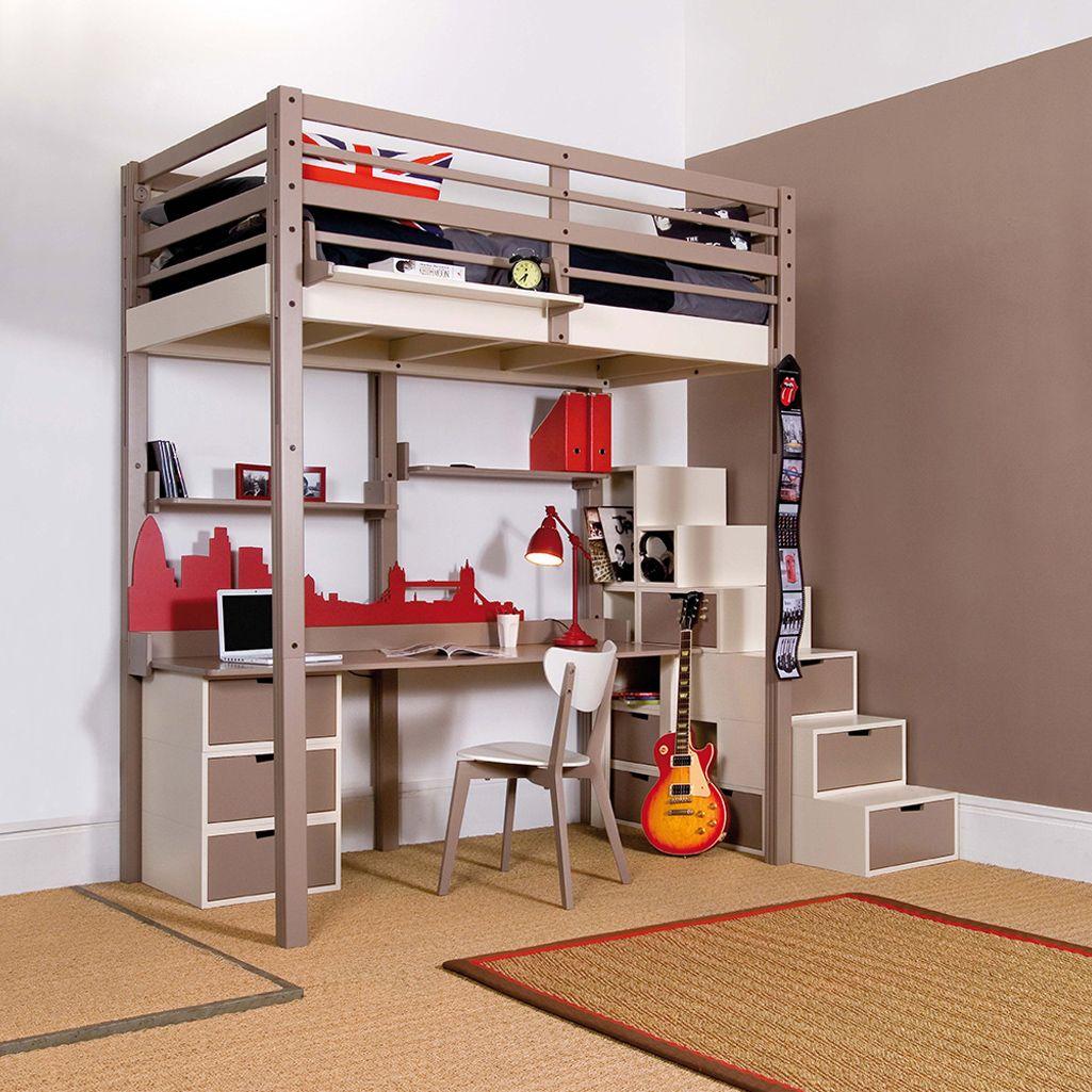 Souvent lit mezzanine adolescent avec bureau et escalier aux rangements  TZ15