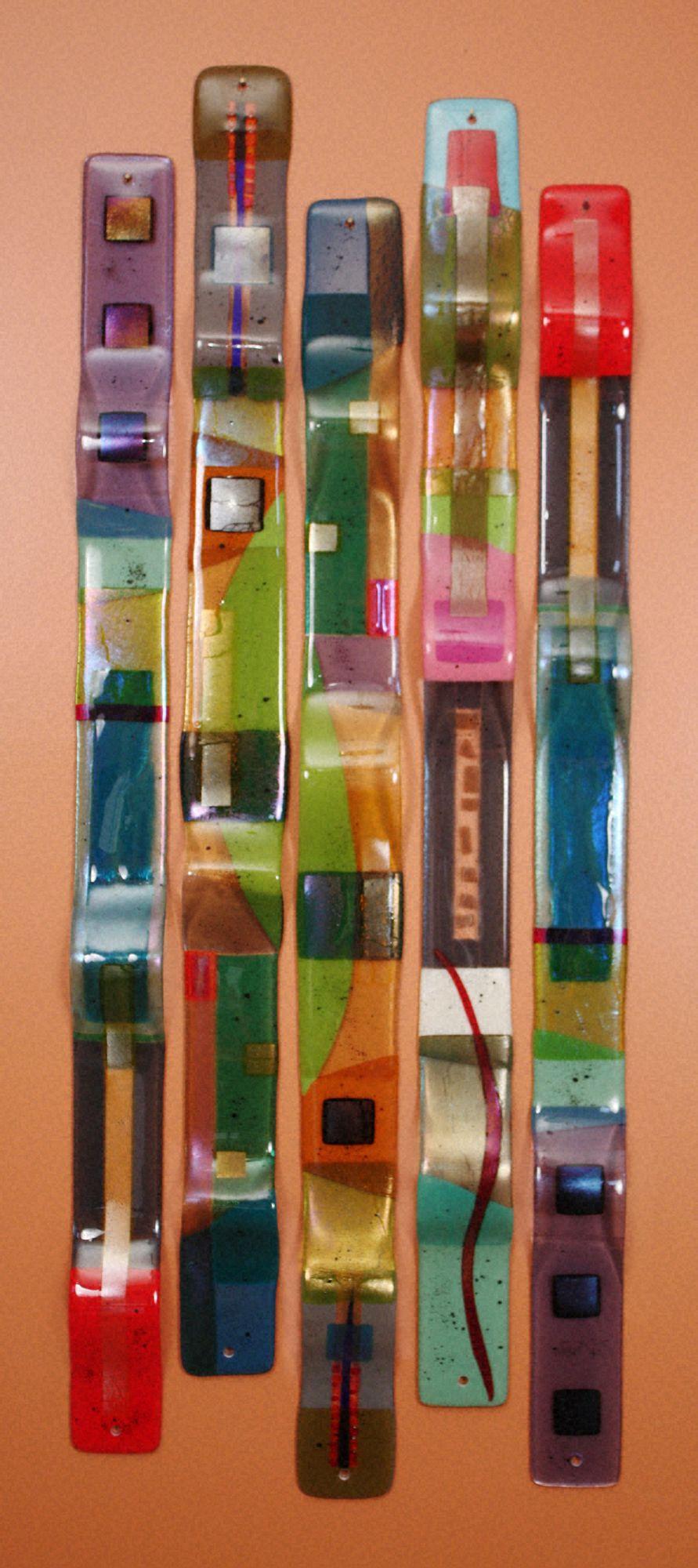Fused Glass Sculpture  Wall Art - Color Totems - Nina Cambron Studio