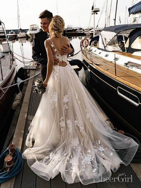 Floral Applique Beach Wedding Dresses Backless Boho Wedding Gown AWD15 – Sheer…
