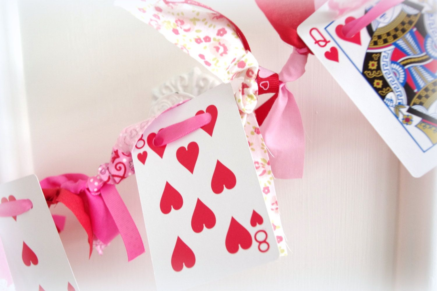 Valentine\'s Day Garland Playing Card and Knotted Fabric Garland with ...