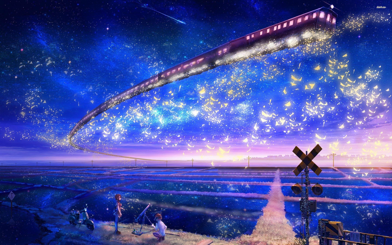 Train In The Sky Hd Wallpaper Sky Anime Anime Scenery Anime Background