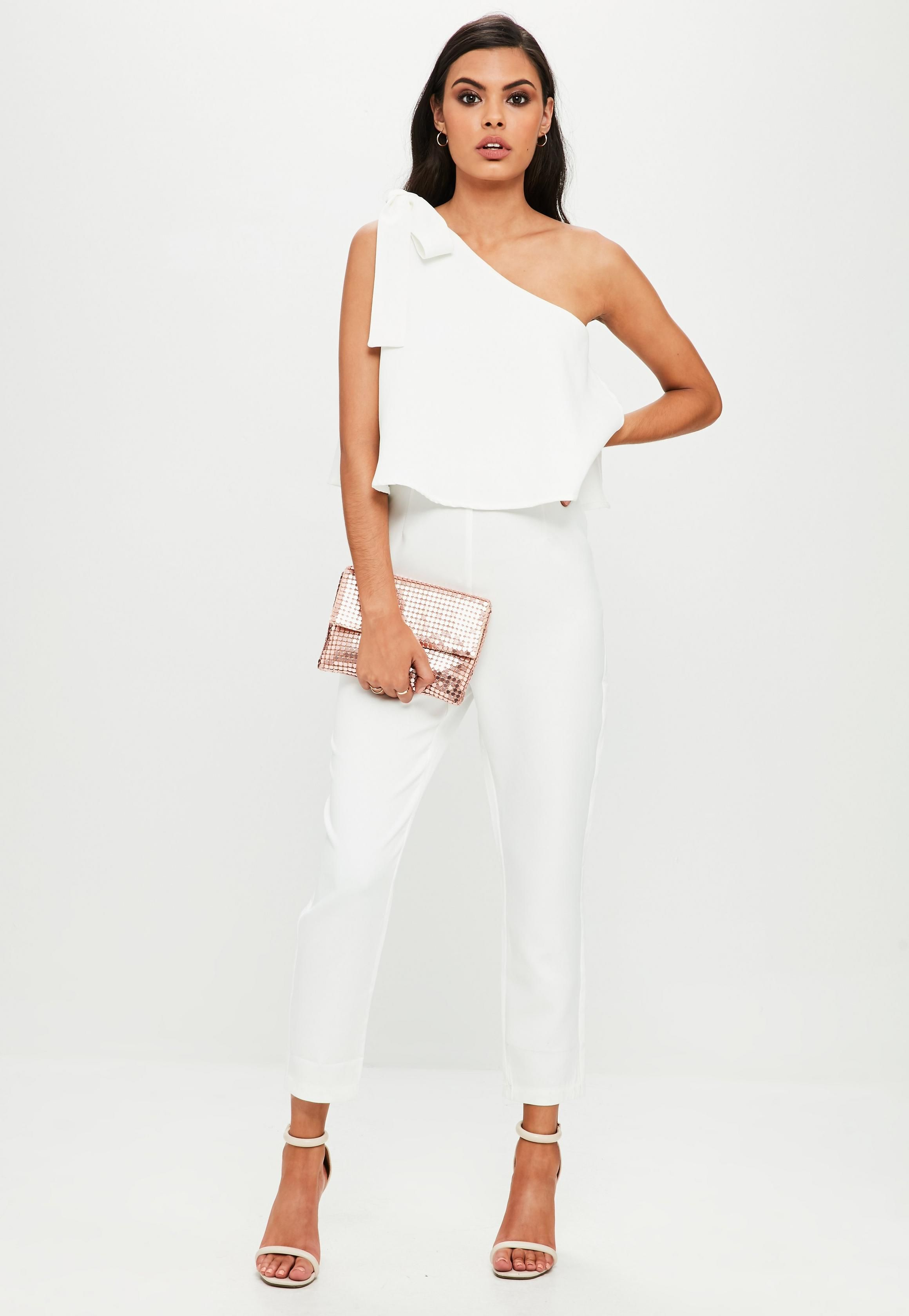ffd045cf4 White One Shoulder Bow Jumpsuit | Missguided | style. in 2019 ...