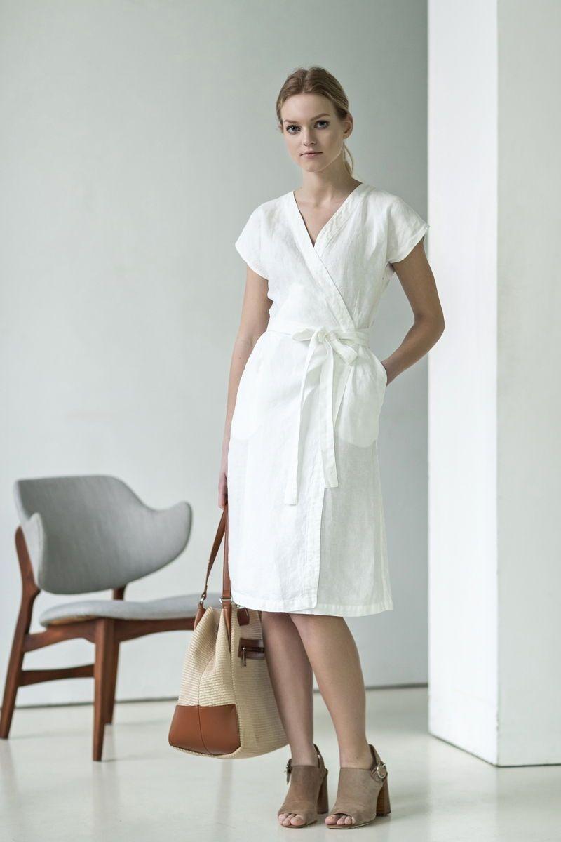 White Linen Wrap Dress For Rustic Bride For Vintage Bride For Boho Bride And Simple Bride Irt Is Also Pe Sleeveless Linen Dress Linen Dress White Wrap Dress [ 1200 x 800 Pixel ]