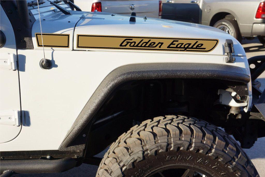 Jeep Golden Eagle Retro Hood Decals For Wrangler Jk Gold Black