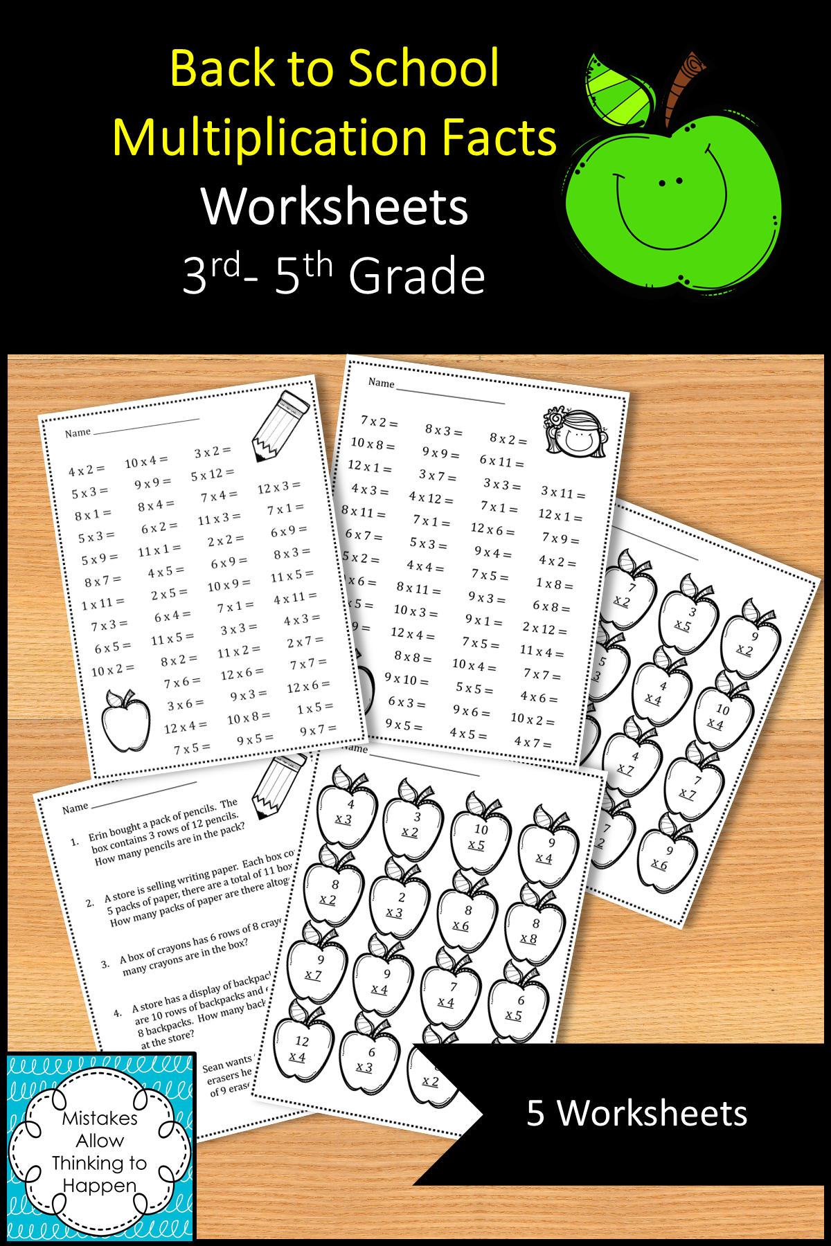 Back To School Multiplication Facts Worksheets