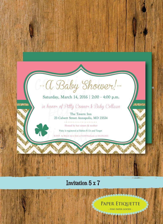 Irish Shamrock Baby Shower Coral Gold Birthday Or Wedding Shower