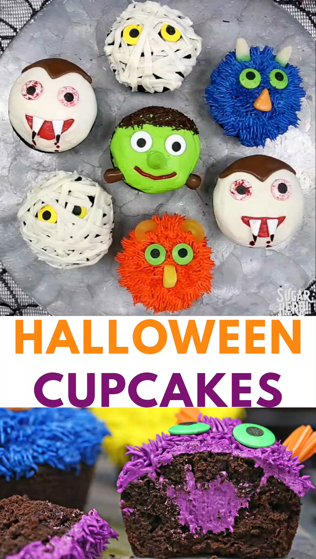 Stuffed Halloween Cupcakes Video  #cookiesandcreamfrosting
