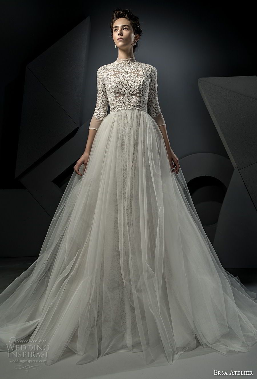 ersa atelier spring 2018 bridal thiree quarters sleeves high neck heavily  embellished bodice tulle skirt elegant modest a line wedding dress covered  lace ... 1163737b2716