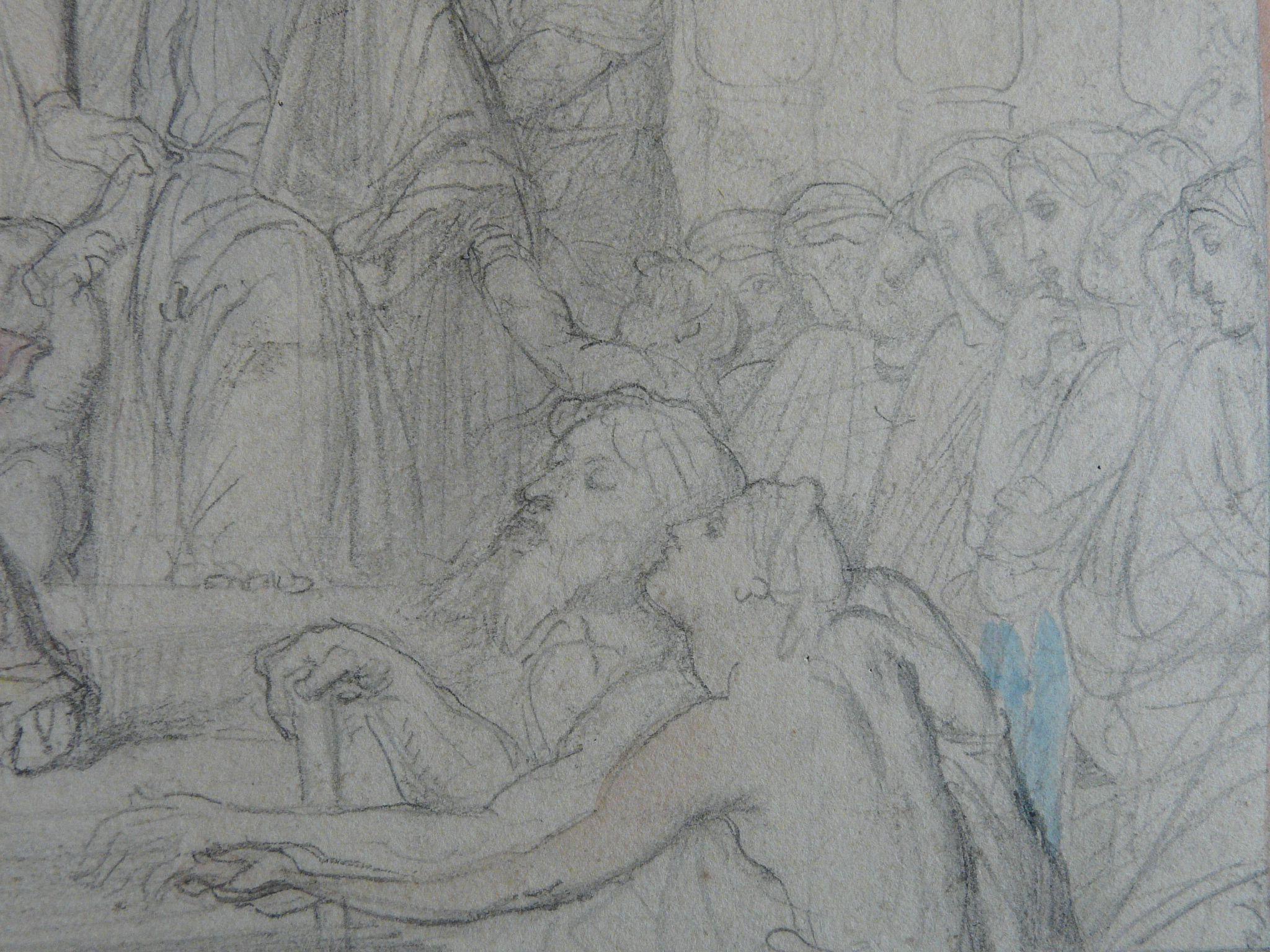 CHASSERIAU Théodore,1843 - Ste Marie l'Egyptienne, Etude pour l'Eglise St-Merri - drawing - Détail 17