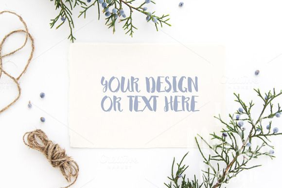 White Card with Juniper Branches by ILoveMockupDesign on @creativemarket