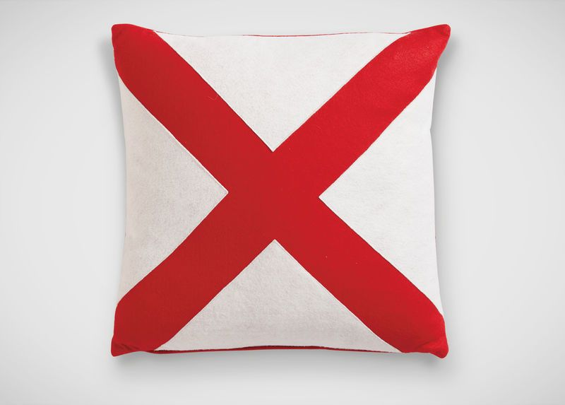 "Red/White ""X"" Pillow"