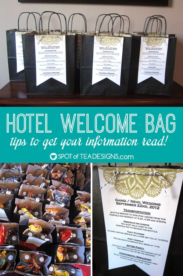 Hotel Welcome Bag For Weddings What To Put Inside And How Get Your Information Read Spotofteadesigns