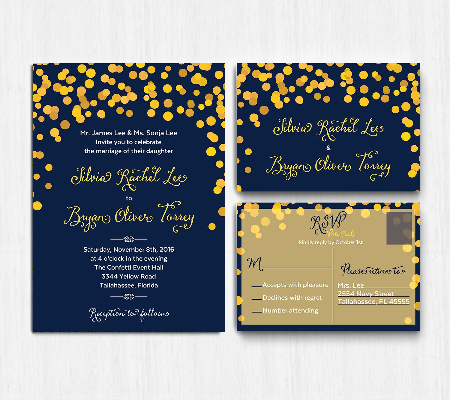 DIGITAL, Navy Yellow Wedding Invitation, confetti wedding invite