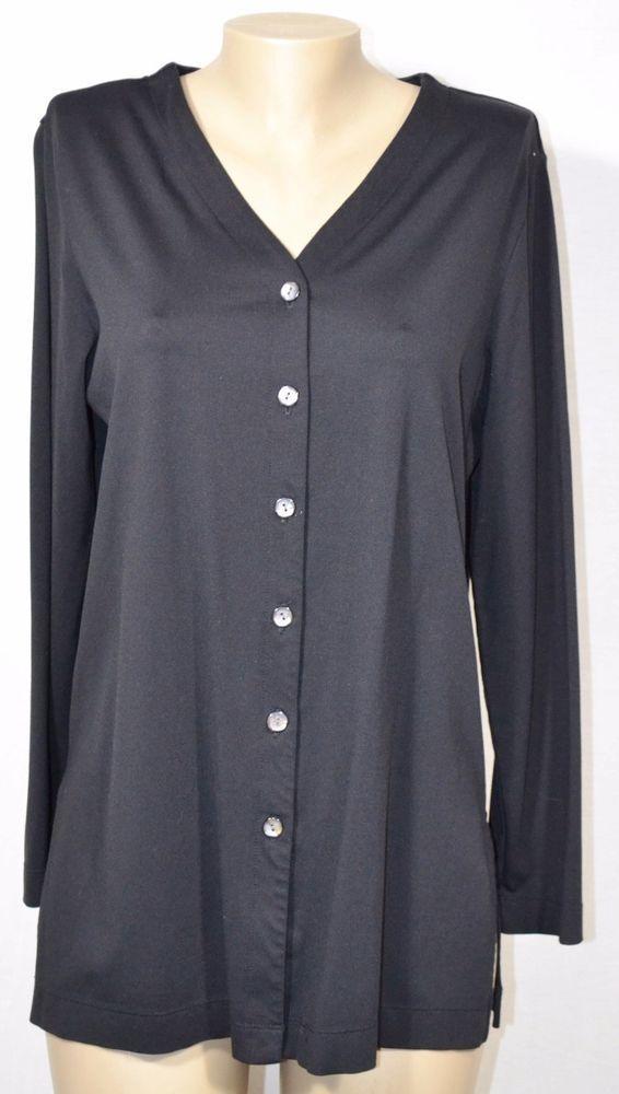 L.L. BEAN TRAVELER Black Cardigan Jacket Medium Long Sleeves Button Front USA #LLBean #Cardigan