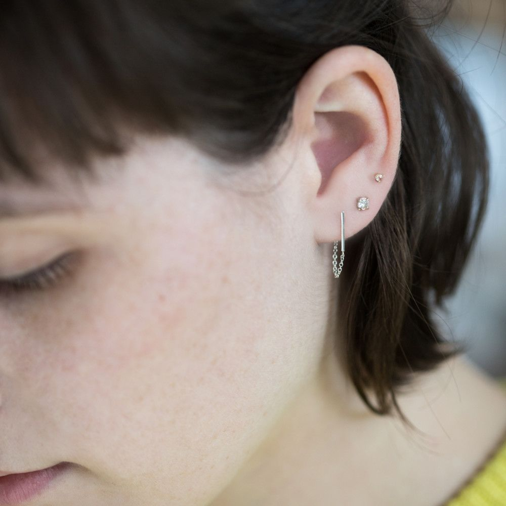 Ballerina Earring, silver (single)   Ballerina and Gold