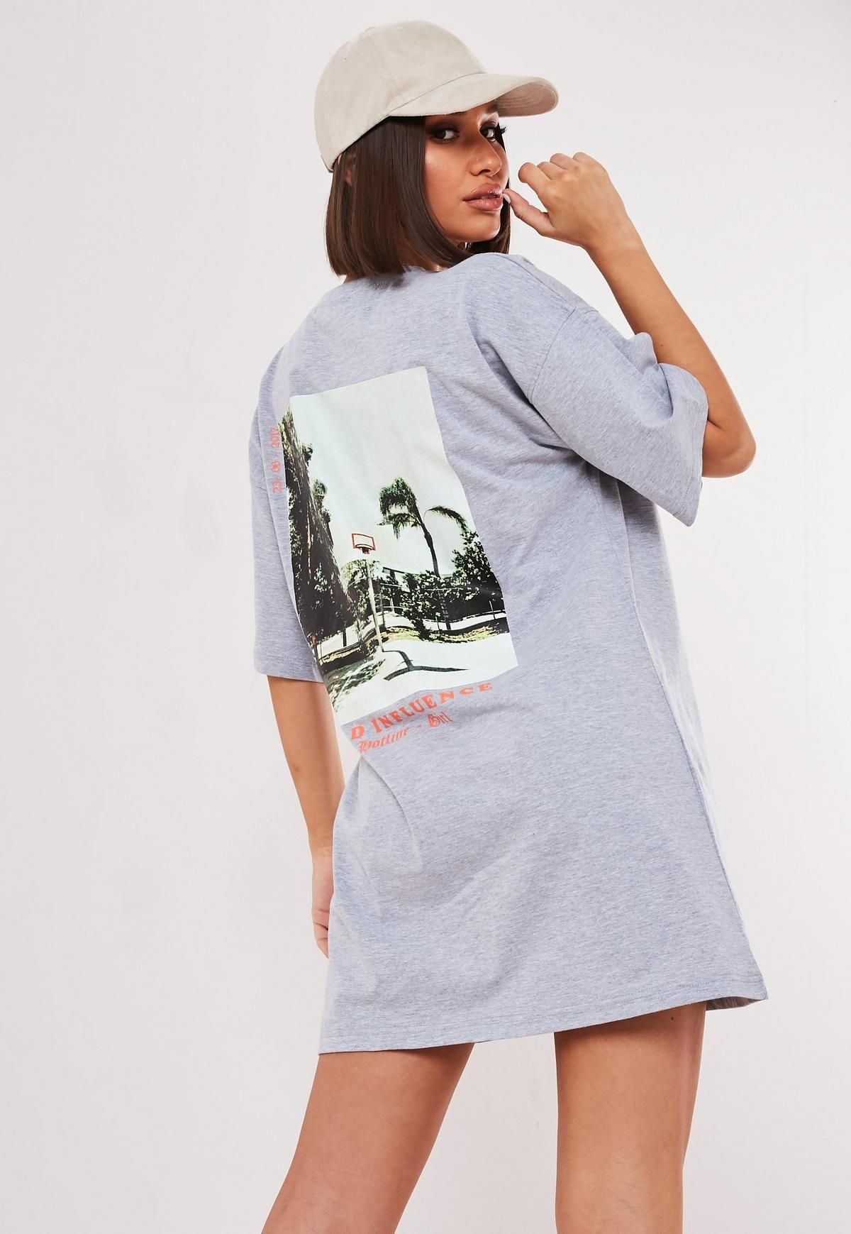 2f7c9cc1 Missguided Gray Oversized Bad Influence Graphic T Shirt Dress in ...