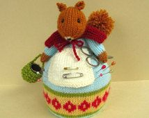 PINNY FUZZYTUFT - knitted squirrel knitting pattern - Pin Cushion - Instant Digital Download - PDF